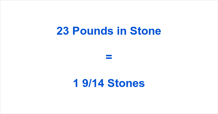 23 Pounds in Stone