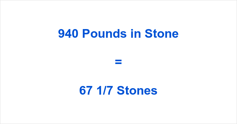 940 Pounds in Stone