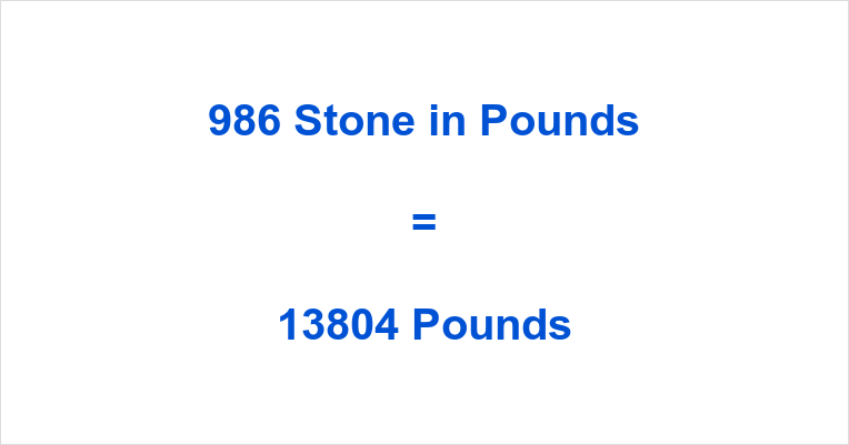 986 Stone in Pounds