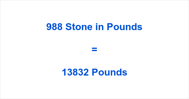 988 Stone in Pounds