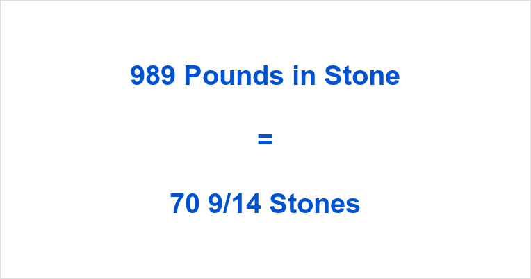 989 Pounds in Stone