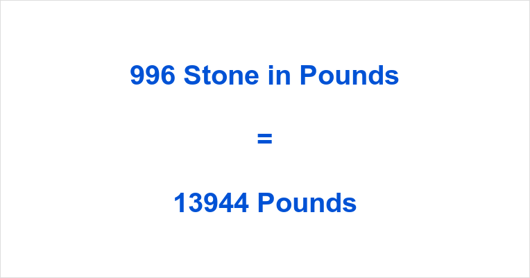 996 Stone in Pounds