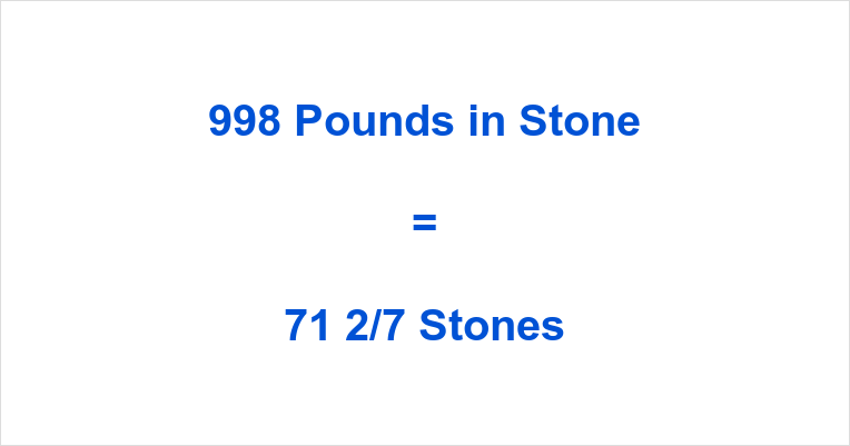998 Pounds in Stone