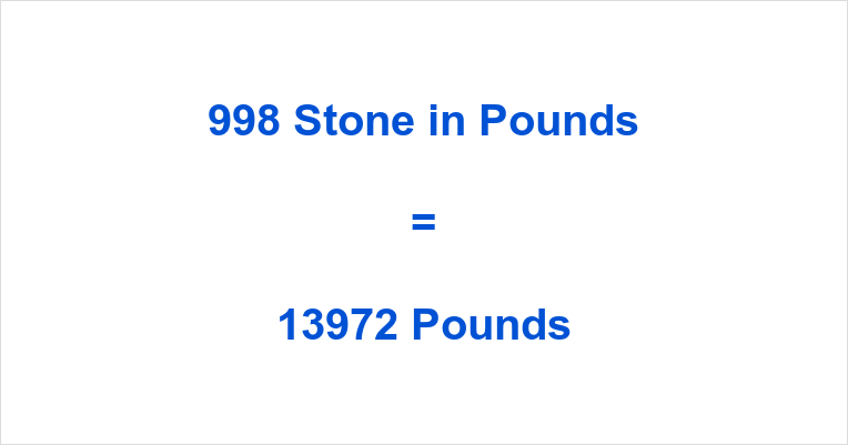 998 Stone in Pounds
